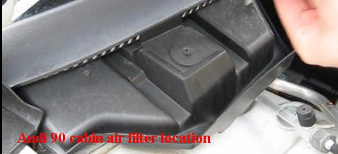 Cabin air filter location Audi 90