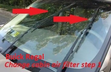 Cabin air filter location and replacement Buick Regal step 1