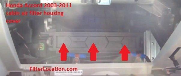 Honda Accord 2003-2011 cabin air filter housing cover