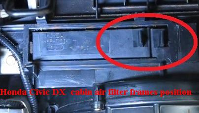Honda Civic DX  cabin air filter frames position