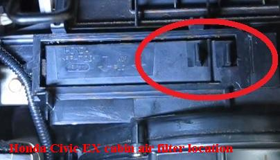 Honda Civic EX  cabin air filter frames position