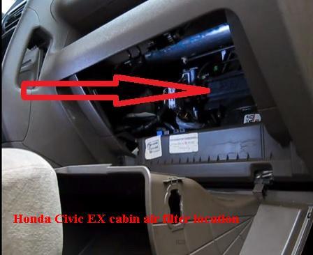 Honda Civic EX cabin air filter location
