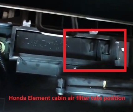 Honda Element Cabin Air Filter Tabs Position on Honda Element Oil Filter Location