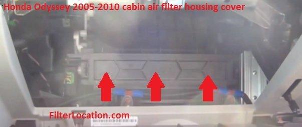 Honda Odyssey 2005-2010 cabin air filter housing cover