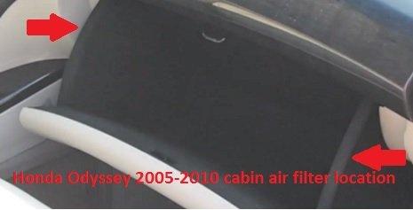 Honda Odyssey 2005-2010 cabin air filter location