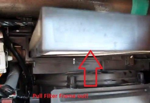 Pull Honda civic hybrid air cabin filter frame out