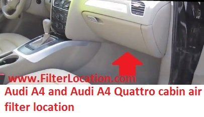 Audi A4 si Audi A4 Quattro cabin air filter location
