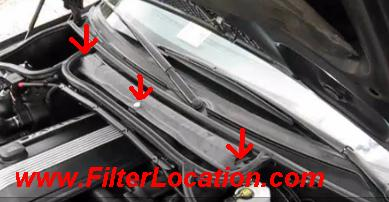 BMW 320i cabin air filter location.