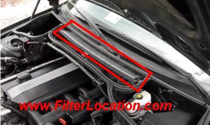 BMW 320i locate cabin air filter