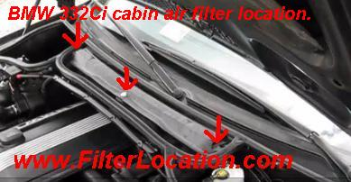 BMW 332Ci cabin air filter location.