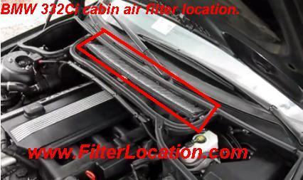 BMW 332Ci  locate cabin air filter
