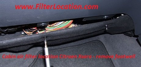 Cabin air filter location Citroen Xsara - remove footwell