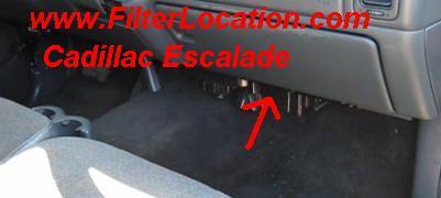 Cadillac Escalade cabin air filter location