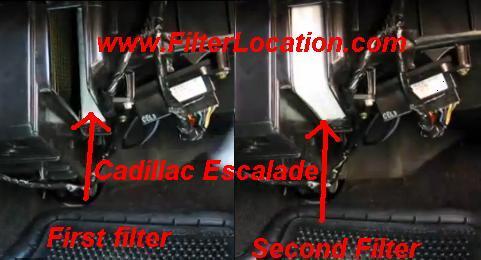 Cadillac Escalade cabin air filter position