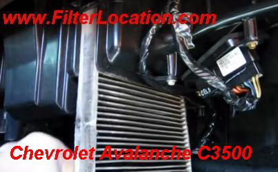 Chevrolet Avalanche C3500 cabin air filter location remove