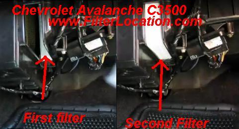 Chevrolet Avalanche C3500 cabin air filter position