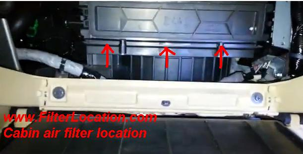 Honda Crosstour cabin air filter housing cover location