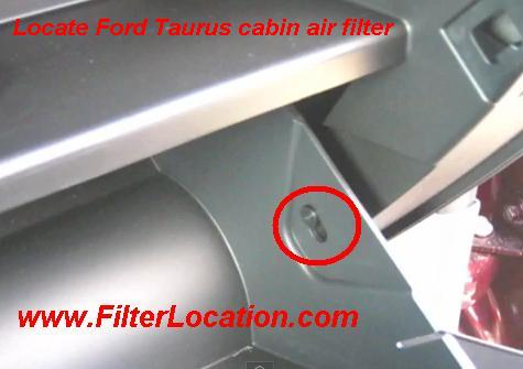 Locate Ford Taurus cabin air filter