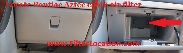 Pontiac Aztec cabin air filter location