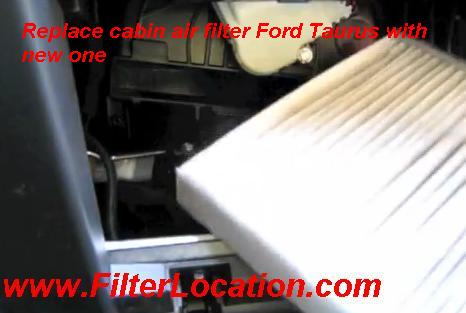 Replace cabin air filter Ford Taurus with new one
