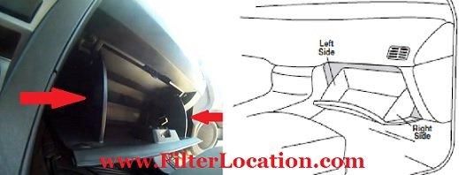 Dodge Caliber SRT4 cabin air filter location