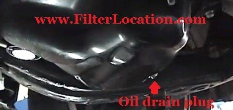 Toyota Camry oil drain plug location
