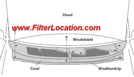Locate Ford Mercury Mystique cabin air filter