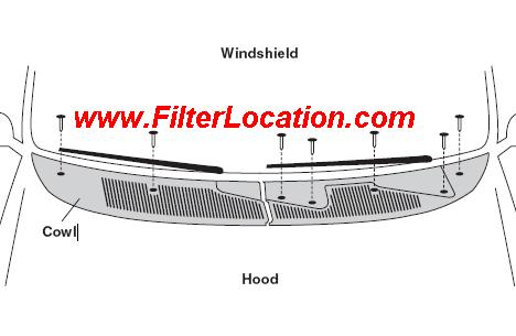 Ford Mercury Mystique cabin air filter location