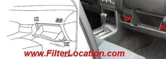 Nissan  Xterra cabin air filter location
