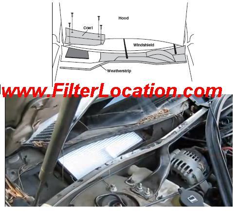1997-2000 Chevrolet Lumina cabin air filter location