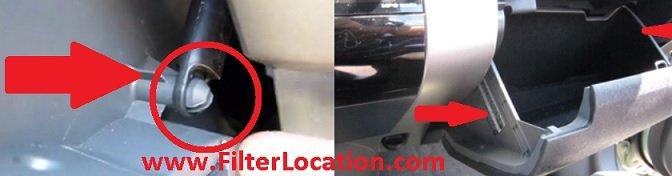 Locate Toyota FJ Cruiser cabin air filter