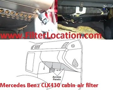 Mercedes Benz CLK430  cabin air filter location
