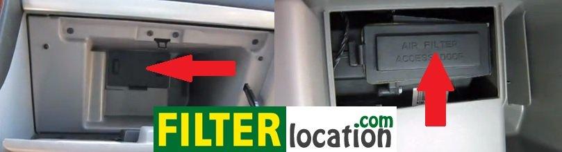 Pontiac Montana cabin air filter location