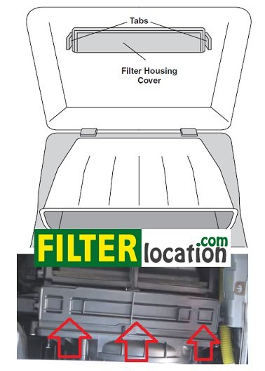 Kia Rio filter housing cover location