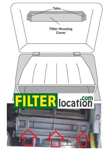 kia sportage filter housing cover location