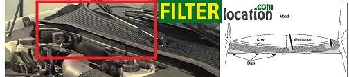Locate Ford Escort ZX2 cabin air filter