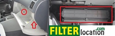 Kia Spectra cabin air filter location
