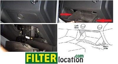 Locate Chevrolet Aveo5 cabin air filter