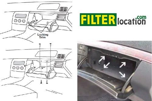 Locate Mercedes-Benz E300D cabin air filter