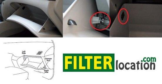 Hyundai Sonata cabin air filter location 1999-2004; 2006-2014