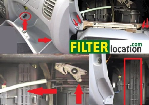 Locate Hyundai Accent cabin air filter