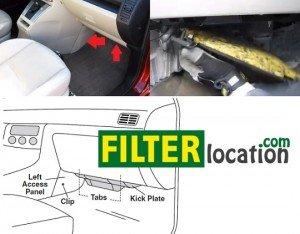 Locate Mazda 5 cabin air filter