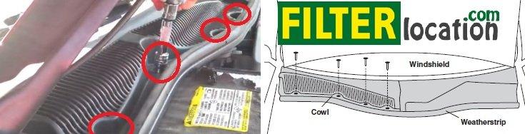 Locate Cadillac SRX cabin air filter