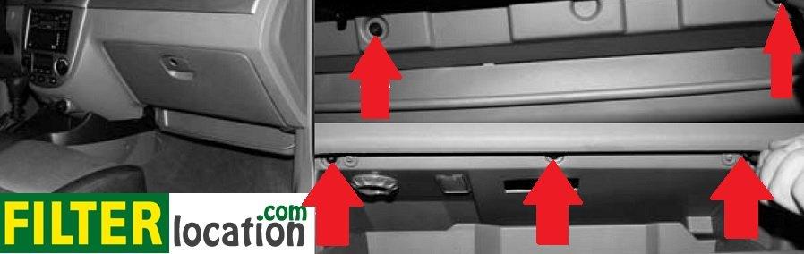Chevrolet Optra cabin air filter location