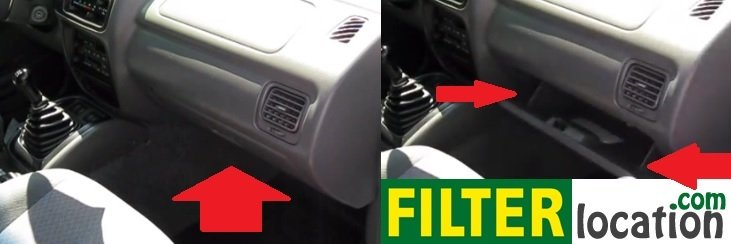 Chevrolet Tracker cabin air filter location