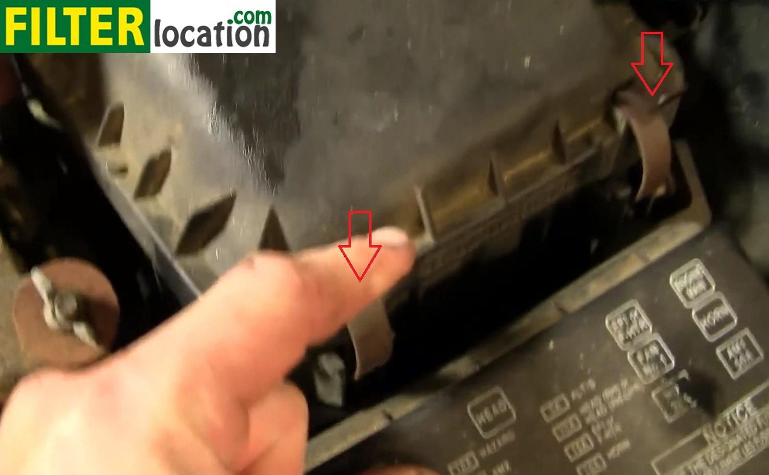 How To Change The Air Filter On Toyota Corolla 1998 2002 Camry Fuel Location Remove Two Metal Tabs Seen In Next Image That Secure Lid Of Box Position Is Marked With Red Arrows
